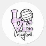Voleibol del amor etiqueta redonda