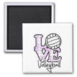 Voleibol del amor imanes para frigoríficos