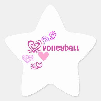 Voleibol del amor pegatina en forma de estrella