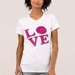 Voleibol del amor (rosa) camisetas