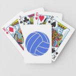 Voleibol del azul real y del blanco barajas de cartas