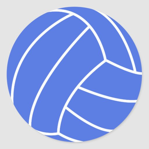 Voleibol del azul real y del blanco pegatinas redondas