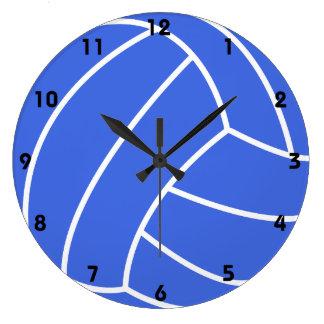 Voleibol del azul real y del blanco reloj redondo grande