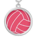 Voleibol del rojo carmesí collar personalizado