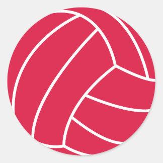 Voleibol del rojo carmesí pegatina redonda