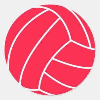 Voleibol del rojo del escarlata pegatina redonda
