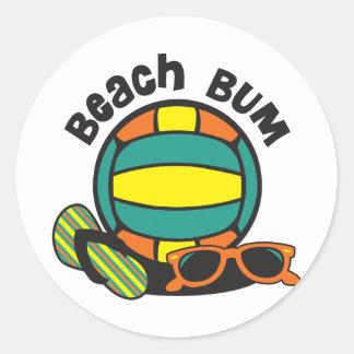 Voleibol del vago de la playa pegatina redonda