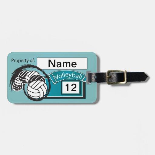 Voleibol deportivo azul etiquetas maletas