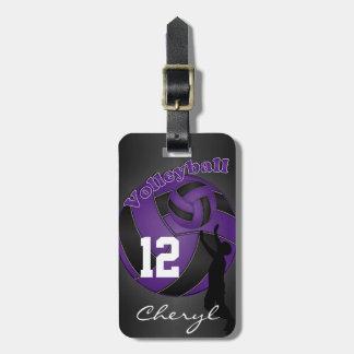 Voleibol deportivo púrpura y negro etiquetas maletas