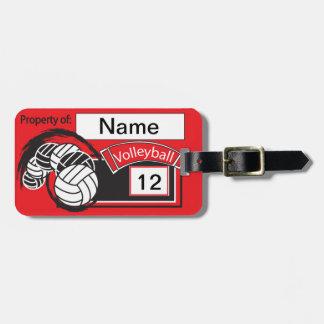 Voleibol deportivo rojo y negro etiquetas de maletas