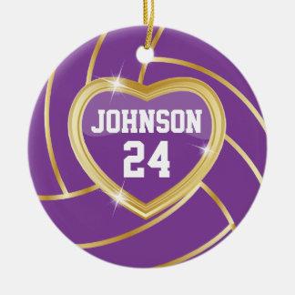 Voleibol elegante de la púrpura y del oro adorno navideño redondo de cerámica