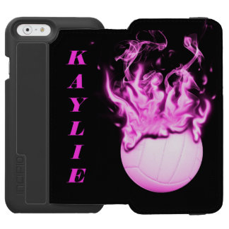 Voleibol en el fuego funda billetera para iPhone 6 watson