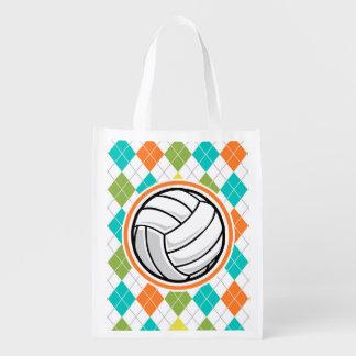 Voleibol en el modelo colorido de Argyle Bolsas Para La Compra