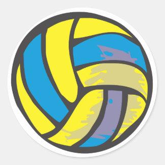 Voleibol en estilo a mano etiqueta redonda
