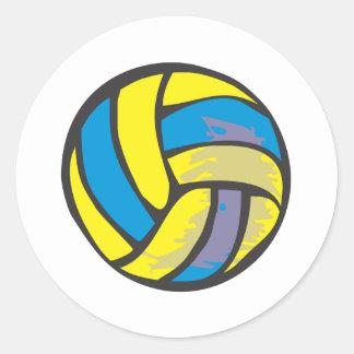 Voleibol en estilo a mano pegatinas redondas