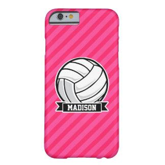 Voleibol en las rayas rosadas de neón funda de iPhone 6 barely there