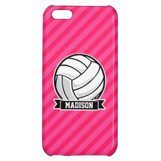 Voleibol en las rayas rosadas de neón