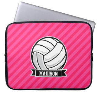 Voleibol en las rayas rosadas de neón funda ordendadores