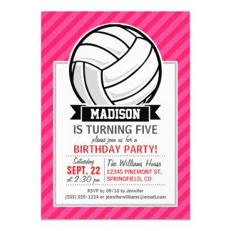"""Voleibol en las rayas rosadas de neón invitación 5"""" x 7"""""""
