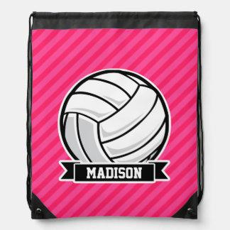 Voleibol en las rayas rosadas de neón mochilas