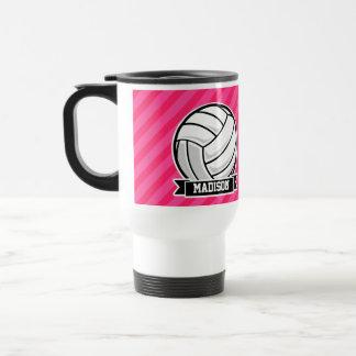 Voleibol en las rayas rosadas de neón taza de viaje