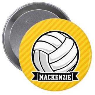 Voleibol en rayas amarillas pin redondo de 4 pulgadas