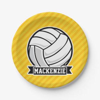 Voleibol en rayas amarillas plato de papel de 7 pulgadas