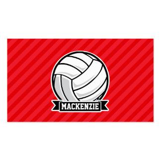 Voleibol en rayas diagonales rojas tarjetas de visita