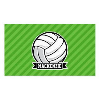 Voleibol en rayas verdes tarjetas de visita