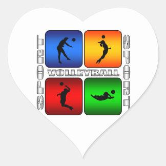 Voleibol espectacular pegatina en forma de corazón