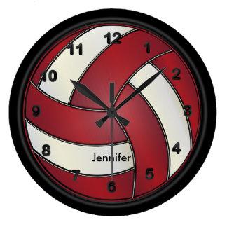 Voleibol estilo rojo oscuro y blanco del | reloj redondo grande