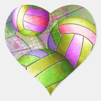 Voleibol femenino sucio pegatina en forma de corazón