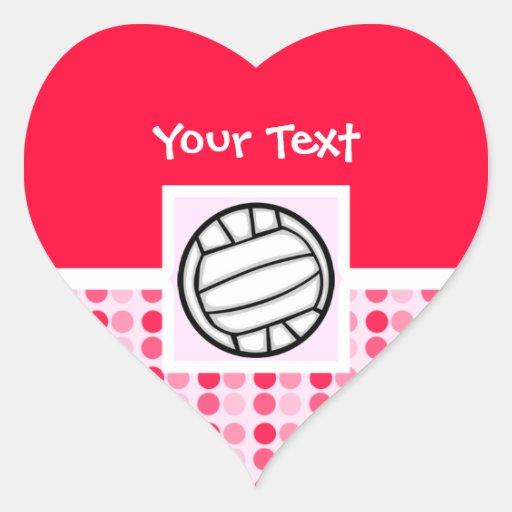 Voleibol lindo pegatina en forma de corazón