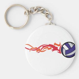 Voleibol llameante llavero redondo tipo pin