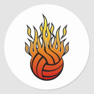 Voleibol llameante pegatina redonda