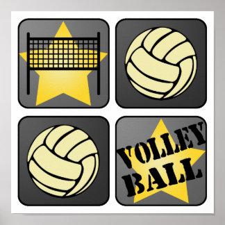 Voleibol negro póster