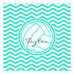 Voleibol personalizado; Aguamarina Chevron verde Comunicados Personalizados