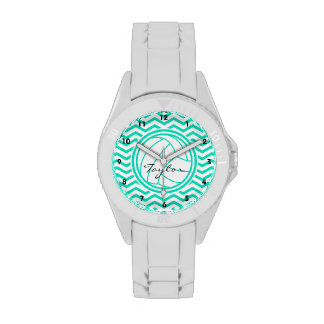 Voleibol personalizado; Aguamarina Chevron verde Reloj De Mano