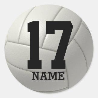 Voleibol personalizado (añada su nombre y número) pegatina redonda
