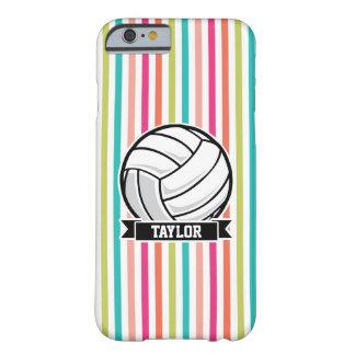 Voleibol personalizado en rayas coloridas funda de iPhone 6 barely there