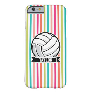 Voleibol personalizado en rayas coloridas funda de iPhone 6 barely there