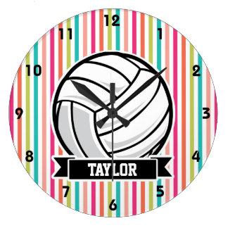 Voleibol personalizado en rayas coloridas relojes