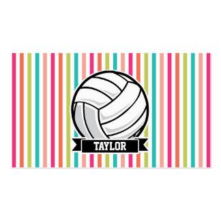 Voleibol personalizado en rayas coloridas tarjetas de visita