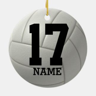 Voleibol personalizado (nombre y número del adorno navideño redondo de cerámica