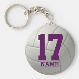Voleibol personalizado (nombre y número púrpuras) llavero redondo tipo pin