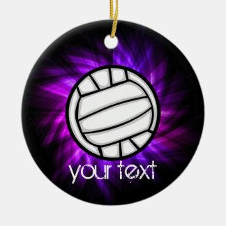 Voleibol púrpura adorno navideño redondo de cerámica