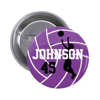 Voleibol púrpura con el jugador de la silueta pin redondo 5 cm