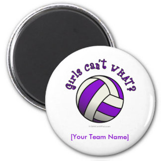 Voleibol púrpura imán redondo 5 cm