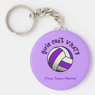 Voleibol púrpura llavero redondo tipo pin