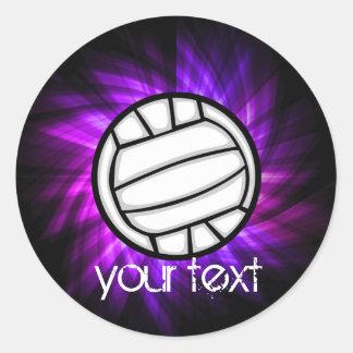 Voleibol púrpura etiquetas redondas